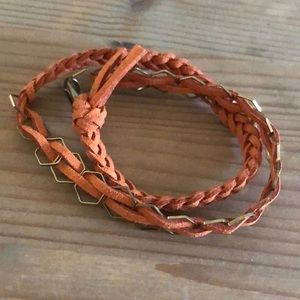 Handmade leather bracelet.